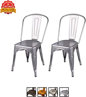 Metal Dining Chair with High Back(Set of 2) - Silver Color - Tolix Style - Loft Appearance - Weight Capacity 300+ Pounds - Extra Durable and Stackable