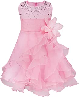 Oyolan Infant Baby Girl Birthday Party Dress Flower Girls Dress Sparkle Rhinestone Princess Outfits Pageant Ball Gown Holi...