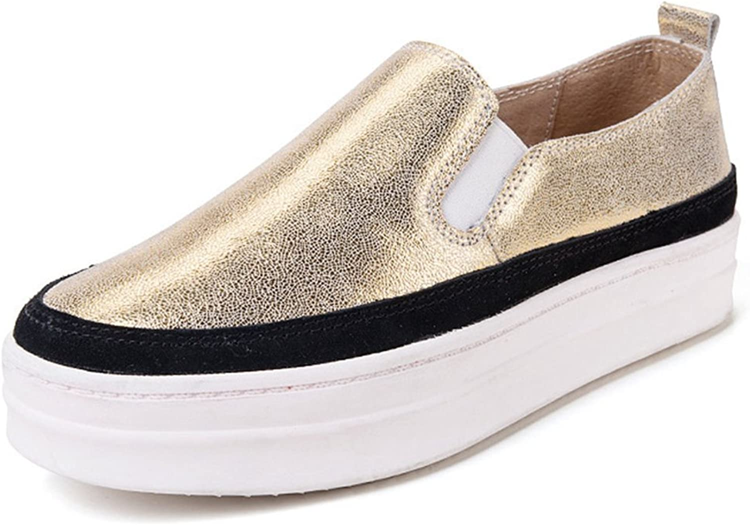 Hoxekle Womens Casual Low Heels Low Top Round Toe Rubber Sole Platform Slip On Loafer shoes