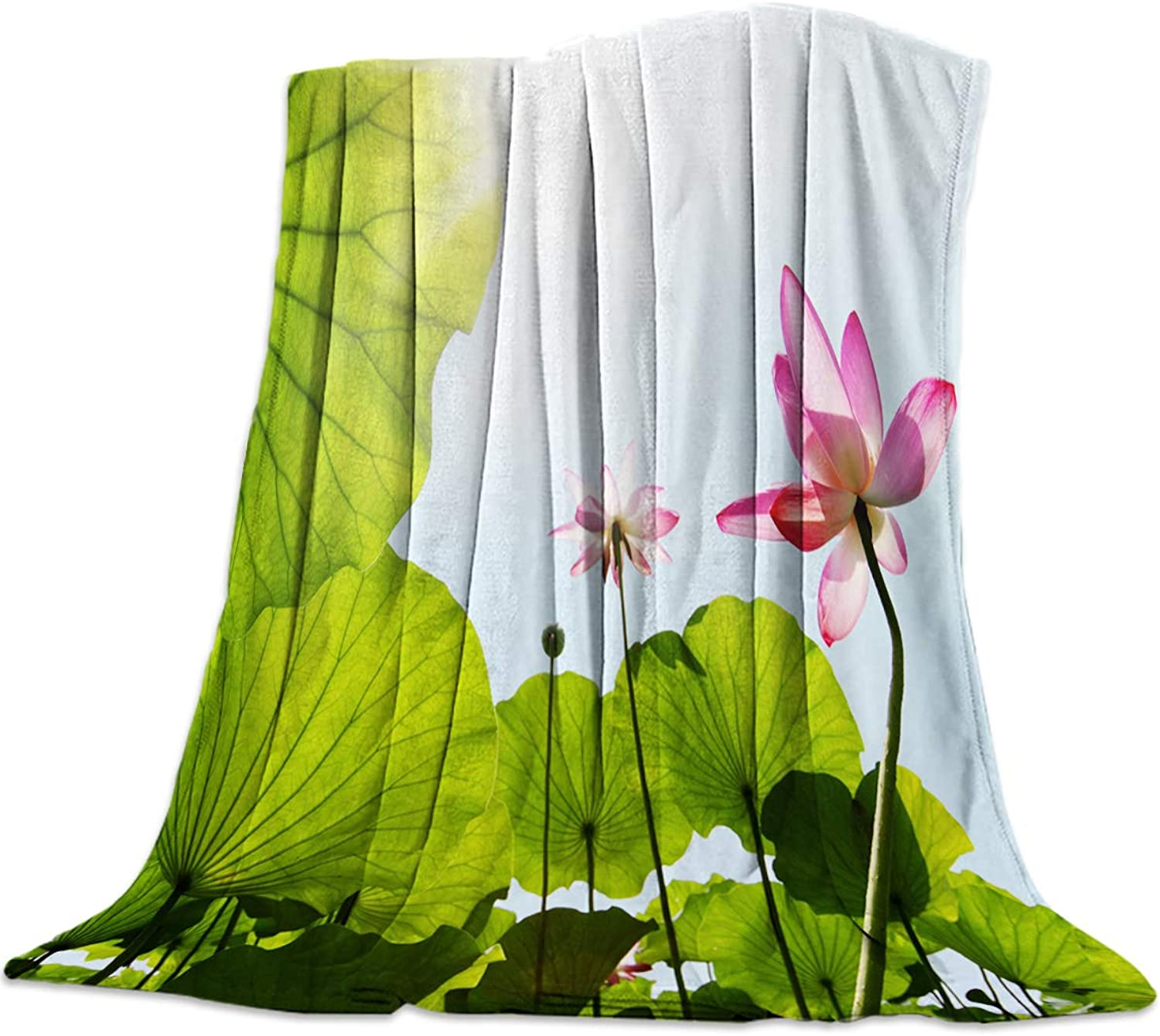 YEHO Art Gallery 49x59 Inch Flannel Fleece Bed Blanket Soft ThrowBlankets for Girls Boys,Fresh Landscape Lotus with Leaf Sun Pattern,Cozy Lightweight Blankets for Bedroom Living Room Sofa Couch