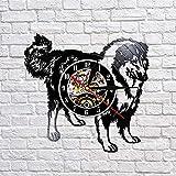 wtnhz LED-Schnauzer Perro Raza Reloj de Pared Rough Collie Club Disco de Vinilo Reloj de Pared Cachorro Animal Hound Tienda de Mascotas Reloj de Pared Art Deco