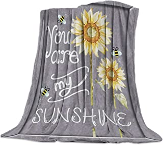 "SODIKA Flannel Fleece Light Weight Luxurious Super Soft Cozy Fuzzy Throw Blanket for Couch Chair All Seasons,Sunflowers You are My Sunshine 60""x80"""