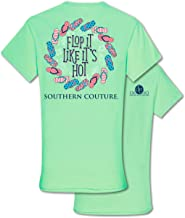 Flop It Like It's Hot Mint Green Classic Cotton Fabric Novelty T-Shirt