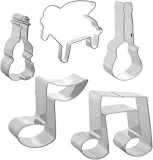 Szxc Music Note Cookie Cutter Set - 5pcs - Guitar + Violin + Piano + Quaver + Two Octaves, Stainless Steel