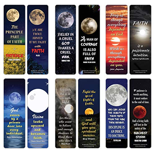Creanoso Have Faith Inspirational Sayings Moon Bookmark Cards (12-Pack) – Premium Gifts Bookmarks for Bookworm – Stocking Stuffers for Men, Women, Teen, Bookworms – Office Supplies – DIY Kit