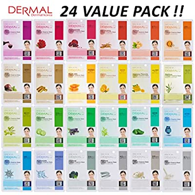 DERMAL 24 Combo Pack Collagen Essence Full Face Facial Mask Sheet - The Ultimate Supreme Collection for Every Skin Condition Day to Day Skin Concerns. Nature made Freshly packed Korean Face Mask
