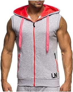 ovett Mens Tank Hoodies Workout Pocket Sleeveless Gym Muscle Hooded Sweatshirt