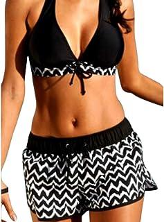 b9bd1dff00 Femme/Fille Bikini Grande Taille Maillots De Bain Rembourré Deux Pièces  Rayures Shorty Push-