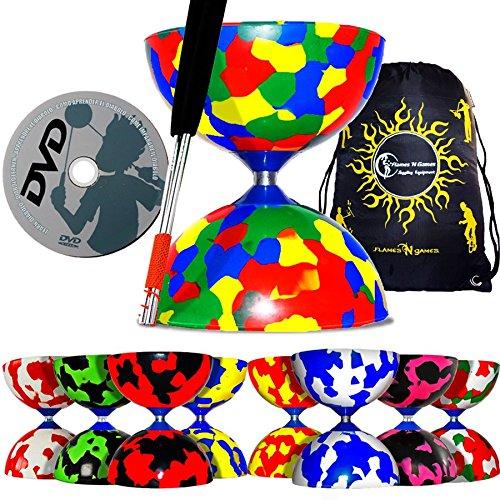 Juggle Dream Jester Pro Diabolo-Set, Alu-Handstäbe, Schnur und DVD und Flames N Games Transporttasche (8 Farben) Schwarz/Rot
