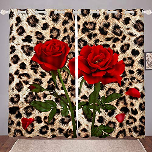 """Leopard Curtains Red Rose Printed Window Curtains for Adult Women Girls Wild Animal Safari Cheetah Spot Decor Window Drapes Brown Leopard Curtain Panels,Living Room Bedroom 2 Panels 42""""X63"""""""