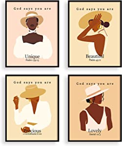 heilkee African American Wall Art Boho Bedroom Decor Black Girl Prints Inspirational Christian Gifts for Women God Says You Are Pictures(UNFRAMED 8x10in)