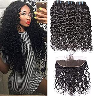 GEM Beauty Brazilian Water Wave Human Hair 3 Bundles With Lace Frontal Closure Wet and Wavy Virgin Hair Bundle Deals with 13×4 Ear to Ear Front Lace Closure Bleached Knots Baby Hair (10 with 12 14 16)