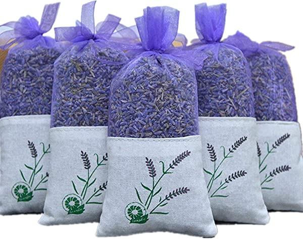 EBUYOM 5 Pack Scented Dried Lavender Buds Aromatic Air Fresh Sachets Dry Flowers Herb Home Decoration Fragrant Sachets