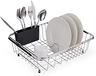 Expandable Dish Drying Rack, 304 Stainless Steel Over Sink Dish Drainer, Dish Rack in Sink or On Counter with Utensil Drying Rack, Rustproof- Large