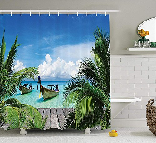 Ambesonne Tropical Shower Curtain, Beach and Tropical Sea Wooden Deck Floating Boats Sunshine Idyllic Daytime, Cloth Fabric Bathroom Decor Set with Hooks, 75' Long, Green Gray