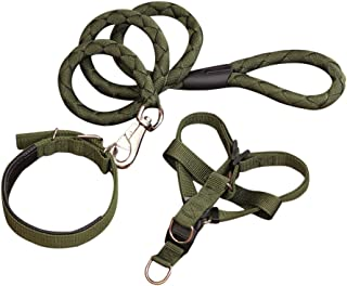 Quno Strong Durable Nylon Adjustable Pet Puppy Harness Collar & Leash Set for Dog Army Green