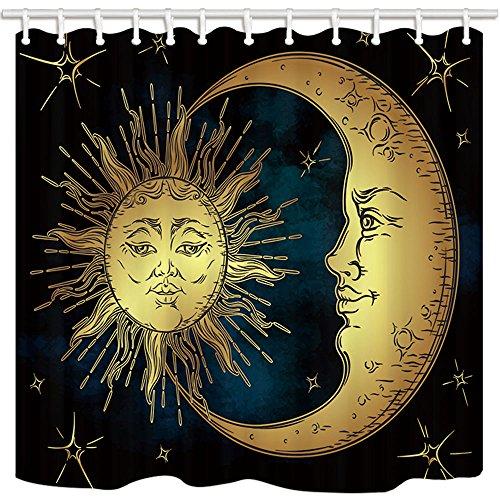 KOTOM Dekoration für die Dusche mit Dekor Psychedelic von, Sonne Mond aus Gold & Sternen mit Gesichtern Frattali Kunst Mystik Hellblau, Vorhänge für Badezimmer Stoff Wasserdicht, 69x 70Zoll