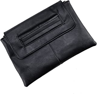 Young_Me Womens Leather Envelope Clutch Handbag with Shoulder Strap