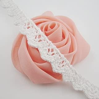 Bluemoon 10 Yards - 12mm Cotton Ribbon lace Trim Dress Lace Trim Cotton Cluny Lace Embroidery White BA0025