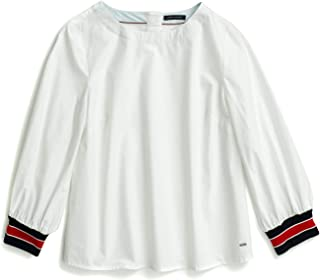 TOMMY HILFIGER Womens 7699969 Adaptive Long Sleeve Tunic with Magnetic Closure Long Sleeve Tunic Shirt - White