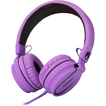Rockpapa 950 Stereo Lightweight Foldable Headphones Adjustable Headband with Microphone 3.5mm for Cellphones Smartphones iPhone Tablets Laptop Computer Mp3/4 DVD Black Purple
