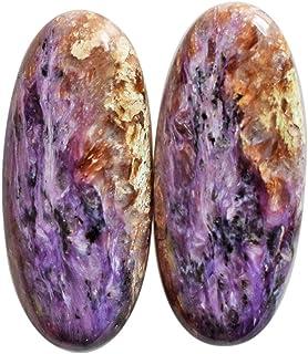 Par de cabujones de charoita morada natural, par de pendientes, piezas de joyería, tamaño 34 x 15 x 5 mm, parte trasera pl...