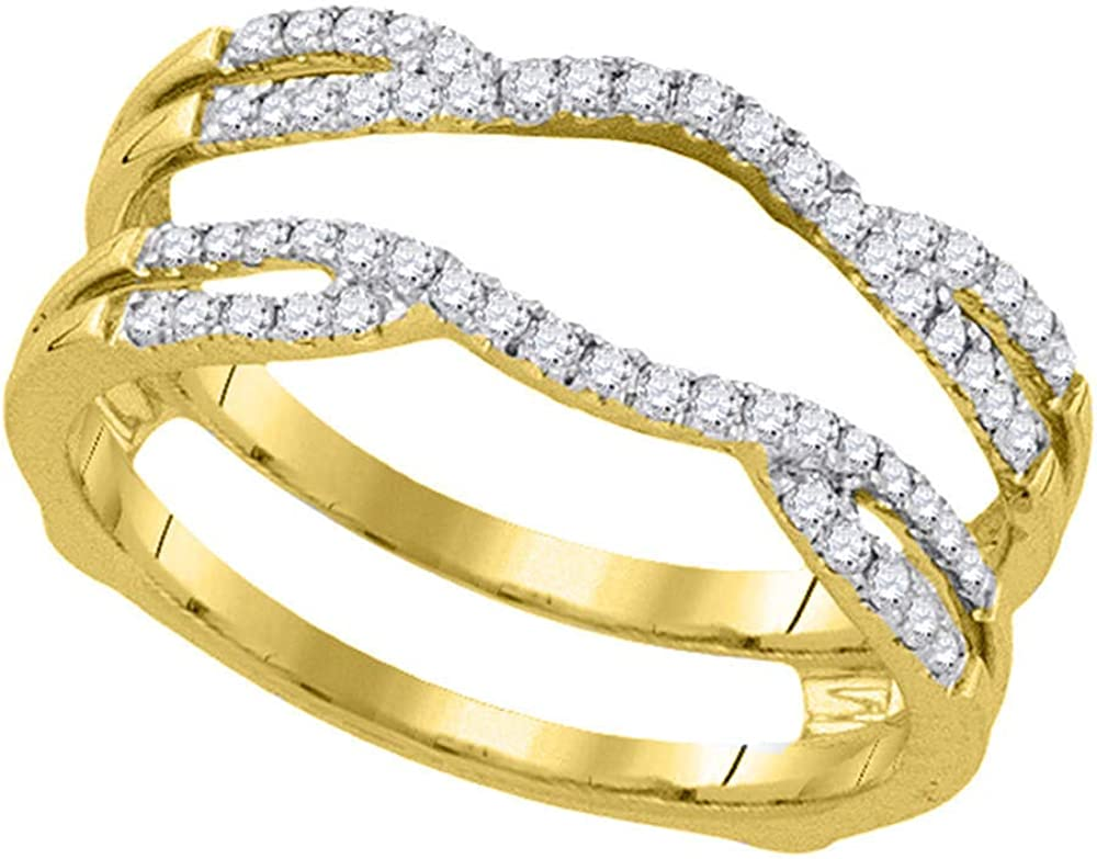 14kt Yellow Gold Womens Round Diamond Curved Wrap Ring Guard Enhancer 1/3 Cttw