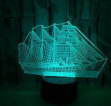 Stoomschip SFALHX 3D Illusie Lamp Nachtkastje Licht voor Kinderen, 16 Kleuren Auto Veranderende Touch Schakelaar, Bureau D...