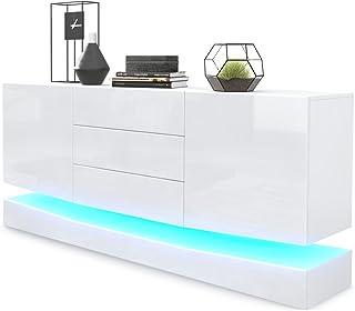 Aparador City Cuerpo en Blanco Mate/Frentes en Blanco de Alto Brillo con iluminación LED