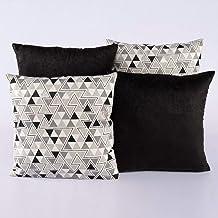 Kit c/ 4 Almofadas Cheias Decorativas Triângulo Preto/Cinza