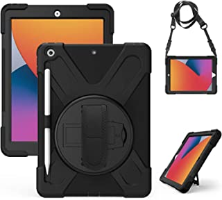 Gerutek Funda iPad 10,2 Pulgadas (iPad 8.ª / 7.ª Generación, 2020/2019), Carcasa Rugosa con Soporte Rotación, Correa de ma...