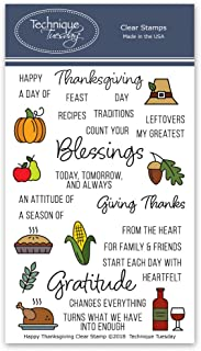 Happy Thanksgiving Clear Stamps | Photopolymer Stamps - Clear Rubber Stamps | Stamps for Card Making | Scrapbooking Stamps