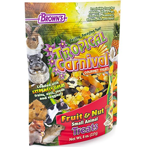 F.M. Brown'S Tropical Carnival Fruit & Nut Small Animal Treat, 8-Oz Bag - Real Fruits, Nuts, And Veggies For Rabbits, Hamsters, Guinea Pigs, Mice, Gerbils, And Rats