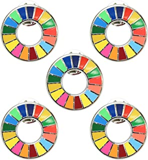 ZAIDEA 国連 SDGs ピンバッジ バッジ 襟章 ビジネス カジュアル アクセサリー (5個セット)