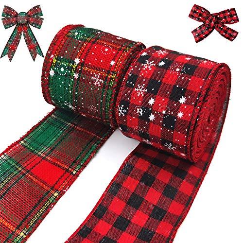 unisoul 2 Rollen Weihnachtsdrahtband,Schleifen Weihnachten Deko,2-1/2 Zoll x 10 Yard je 20 Yds, Weihnachtsbaum Deko für Urlaub, Geburtstag, Hochzeit, Party,Schneedruck