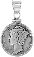 Sterling Silver & Gold Filled Dime Bezel 18 mm Screw Top Coin Edge 10 Cent
