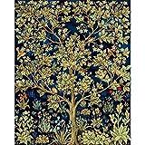 Pintar por numeros para Adultos Arbol de William Morris - Cuadro de Pintura por números Adultos y para niños - Lienzo Dibujado con numeros para Pintar con Pinceles y Colores Brillantes
