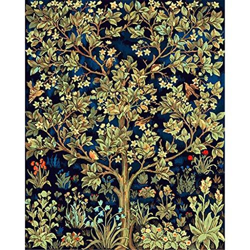 DonElton Pintar por numeros para Adultos Arbol de William Morris - Cuadro de Pintura por números Adultos y para niños - Lienzo Dibujado con numeros para Pintar con Pinceles y Colores Brillantes