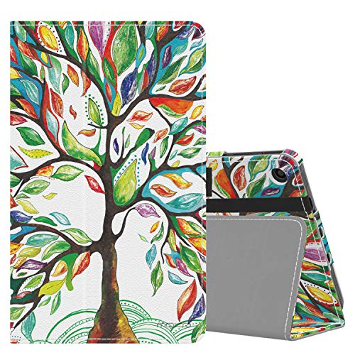 MoKo Case Fits Kindle Fire 7 Tablet (9th Generation, 2019 Release), Premium PU Leather Slim Folding Stand Shell Multiple Viewing Angles Cover with Auto Wake/Sleep - Lucky Tree