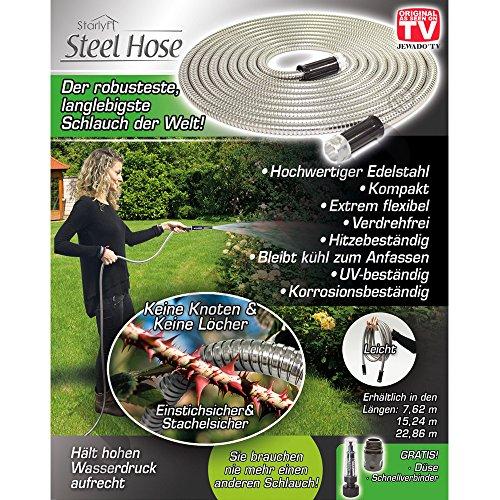 Starlyf® Steel broek, tuinslang van roestvrij staal in 3 maten (7,62 m, 15,24 m, 22,86 m) - Originele TV-reclame 22,86 m zilver