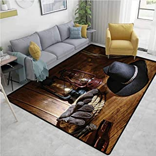 Western Modern Area Rug American Rodeo Equipment with Cowboy Felt Hat Ranching Tools Lanterns Photo Personality W71 x L94 Black and Brown