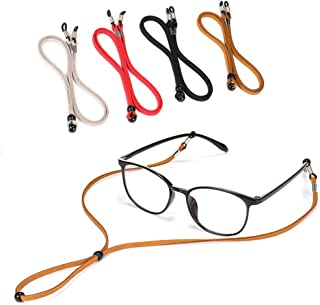 4PCS Premium Leather Eyeglass Straps, SCWJTF Adjustable Eyewear Retainers, Non-slip Eyeglass Chains Lanyard, Sport Sunglass Retainer Holder Strap, Free Gift Glasses Cloth and Screwdriver