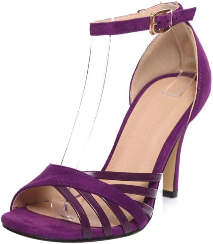 TAOFFEN Women Fashion Simple Ankle Strap High Heel Sandals