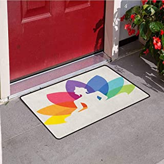 RelaxBear Asian Inlet Outdoor Door mat Silhouette of Sitting Young Statue with Colorful Lotus Flower Floral Cultural Print Catch dust Snow and mud W31.5 x L47.2 Inch Multicolor