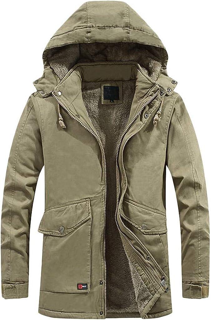 Men's Winter Coat with Hood Long Sleeve Windproof Lightweight Warm Soft Outwear Zipper Jacket