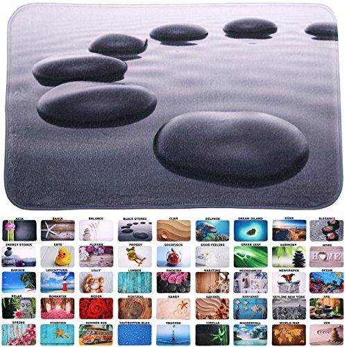 Sanilo Badteppich I viele schöne Badematten zur Auswahl I Badvorleger sehr weich und rutschfest I waschbar und schnelltrocknend (50 x 80 cm, Black Stones)
