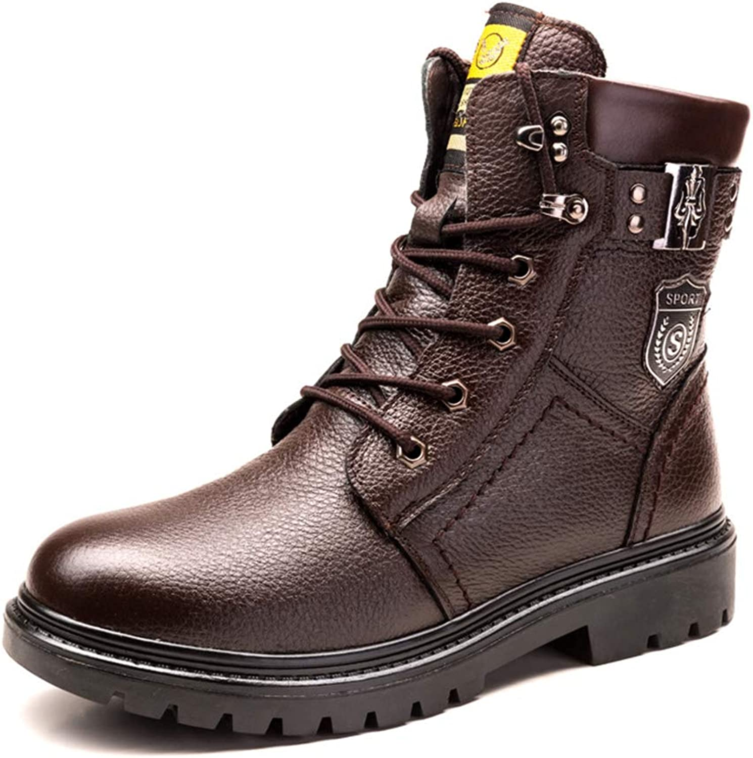 Mens Snow Boots Black Leather Martin Boots Warm Winter Motorcycle shoes Lace-up Mid-Calf Boots
