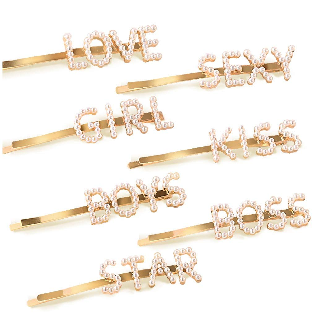 Souarts 7PCS Rhinestone Bobby Pins Letter Hair Clips Barrettes Pins Women Gold LOVE BOSS KISS Letter Accessories Wedding Bridal Word Hairpins