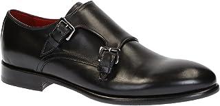 Zapatos para Hombre Monje Doble Hecho a Mano en Cuero Negro