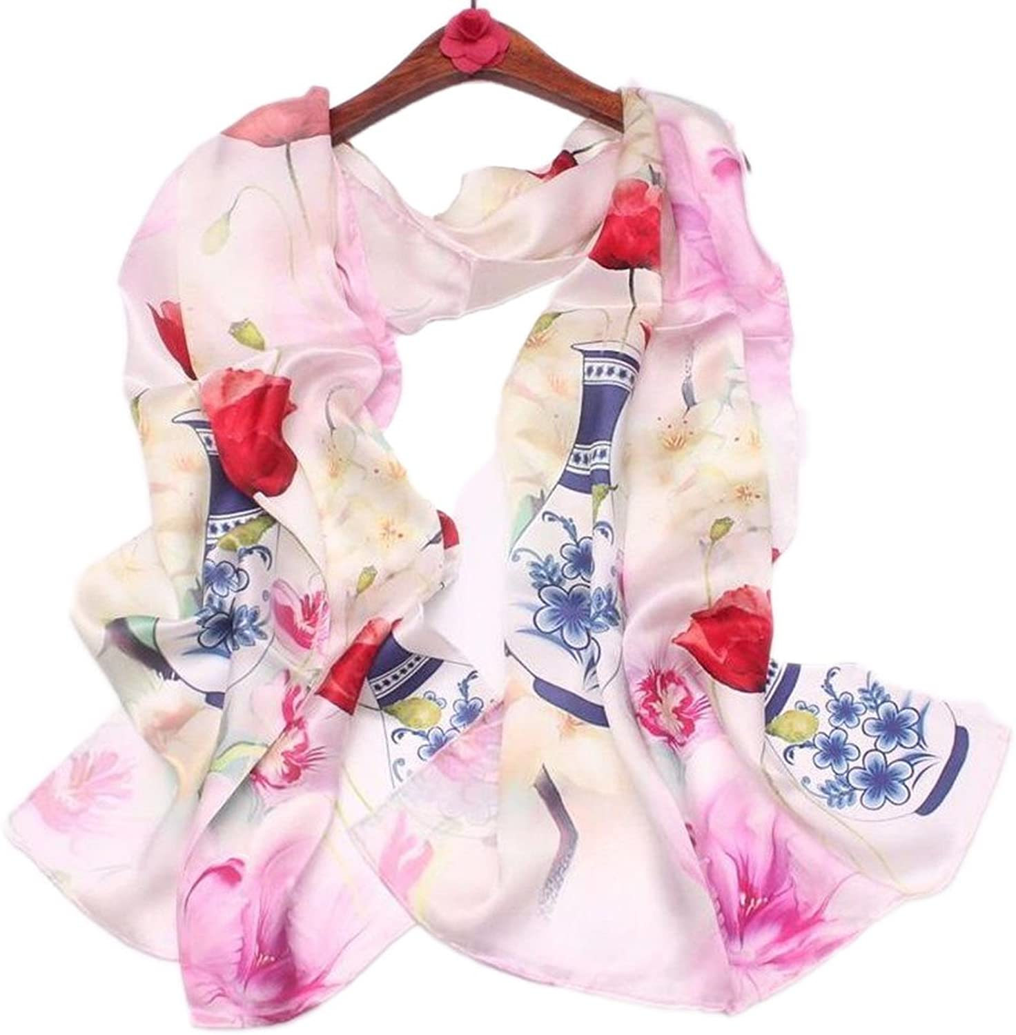 Lady Scarf Printing Moderate Thickness Silk Scarf Suitable for Traveling Party Wedding Dating,